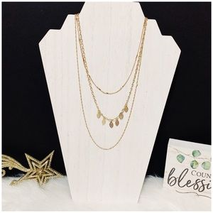 Delicate Triple Strand Gold Necklace